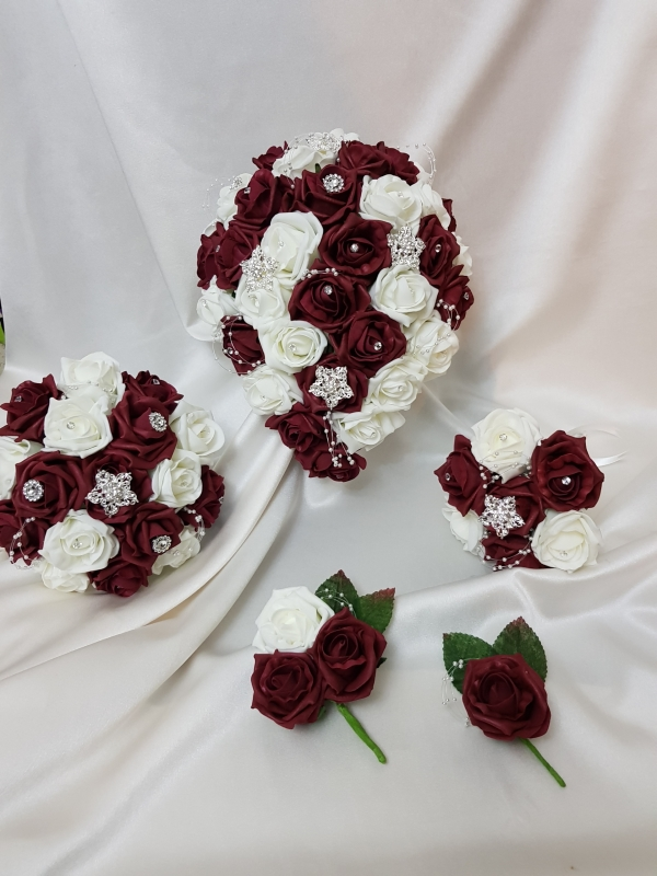 burgundy-artificial-wedding-flowers-with-brooch