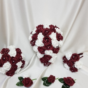 burgundy-rose-artificial-wedding-flower