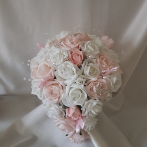 baby-pink-white-teardrop-artificial-brides-bouquet