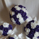 Cadbury purple and white artificial rose wedding flowers
