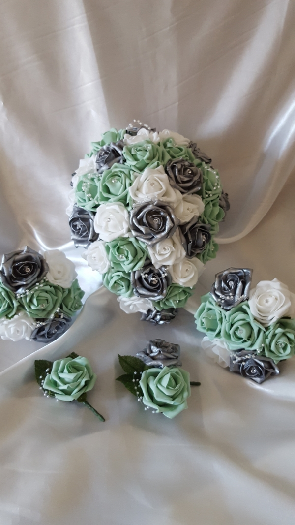 mint-silver-artificial-wedding-flowers