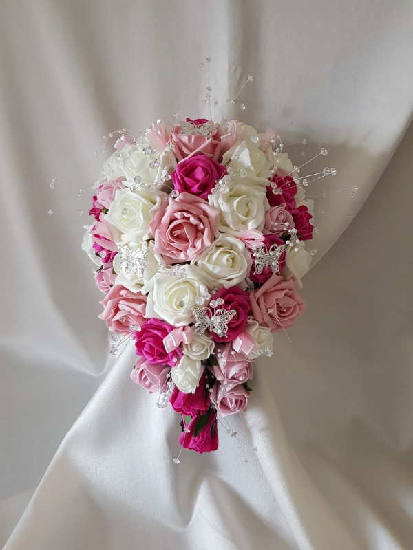 fuschia-pink-butterfly-brides-bouquet