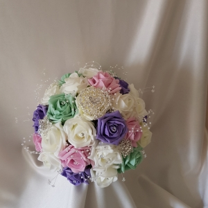 pink-purple-mint-brides-brooch-bouquet