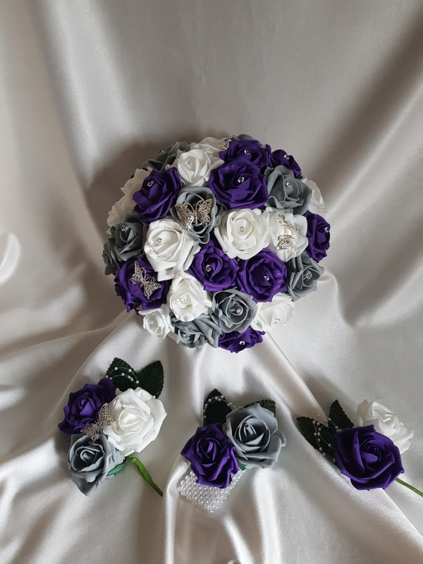 purple-grey-butterfly-wedding-flowers