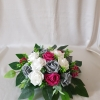 hot-pink-grey-foliage-table-arrangement